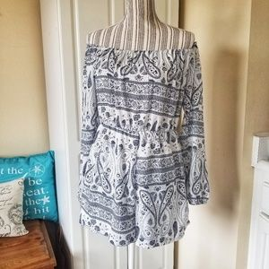 Missguided Long Sleeve Scarf Print Romper